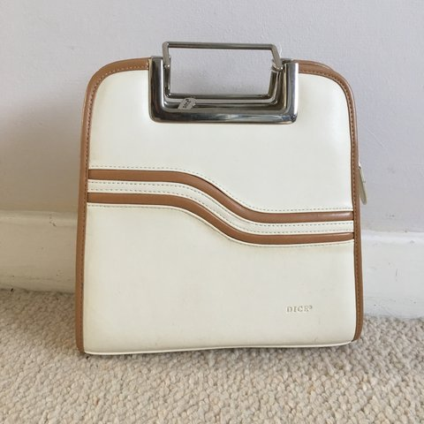 71fc979d8306d5 Vintage DICE cream hand bag! Has compartments inside, and is - Depop