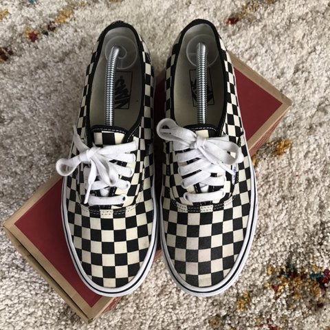 1a257a538729 Vans golden coast checkered authentic. Has a few stains on - Depop