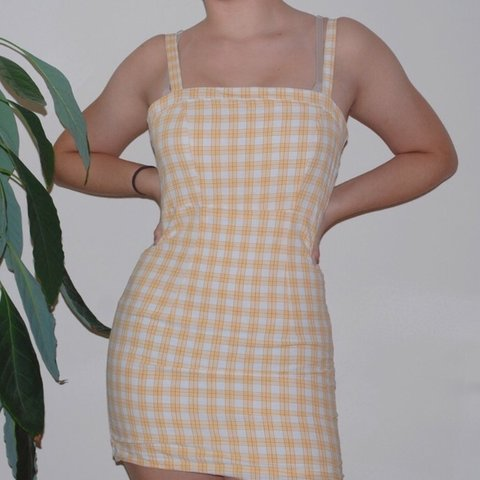 30fd2a480bb Forever 21 Yellow Plaid Dress brand  forever 21 size  yellow - Depop