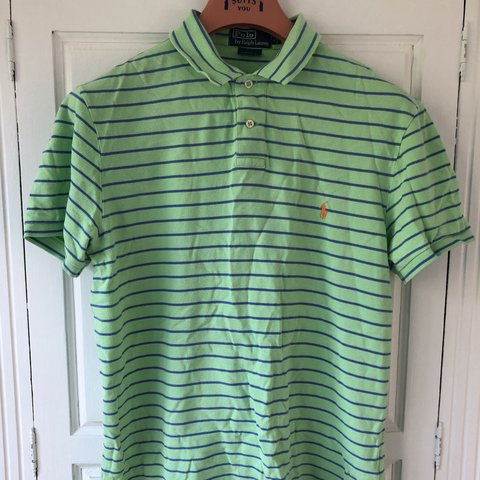 78873474 @joel_brennan. 8 months ago. Stockton-on-Tees, United Kingdom. Vintage Polo Ralph  Lauren Polo Shirt Size Large Green with blue stripes and ...
