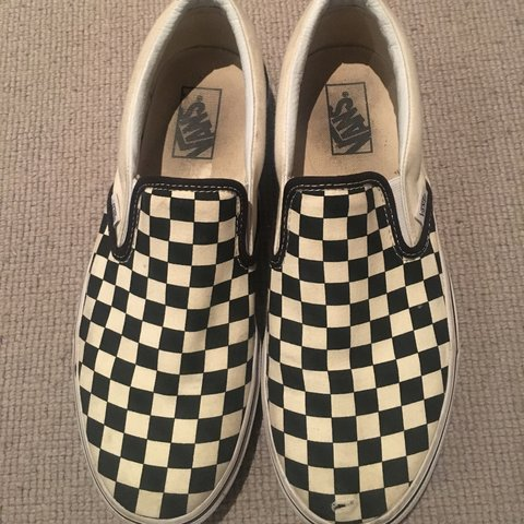 6029fb6bad classic checkerboard slip on vans  size uk 8   have a small - Depop