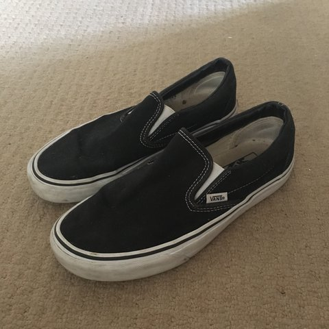 32060aa296 Vans slip on classic black and white shoes trainers   worn   - Depop