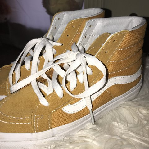 yellow mustard sk8 hi old skool vans    lightly worn       - Depop b27bba6969