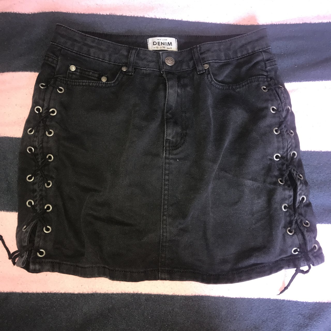 b3268e0395 New Look Lace Up Side Leather Look Mini Skirt