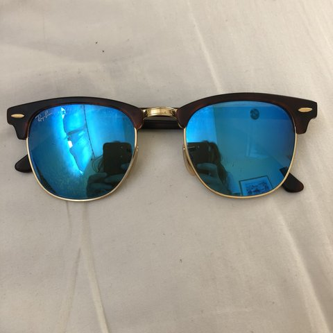 79c444f73b1 Authentic Clubmaster blue reflective Ray-Ban sun glasses. No - Depop
