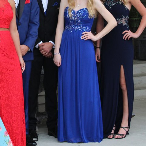 Royal Blue Prom Dress From Davids Bridal Only Worn Once Depop