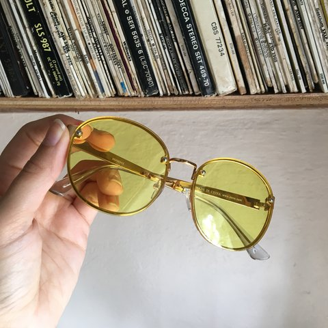 c2180962b @luemdesigns. last month. Bedford, United Kingdom. Yellow ASOS Sunglasses.  Gold Frame. Brand New. Never worn/used.
