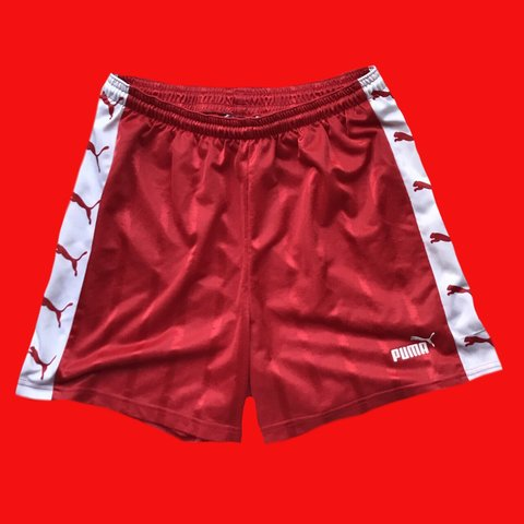 b86888d469 Vintage Puma football shorts in Red colourway and size Large - Depop