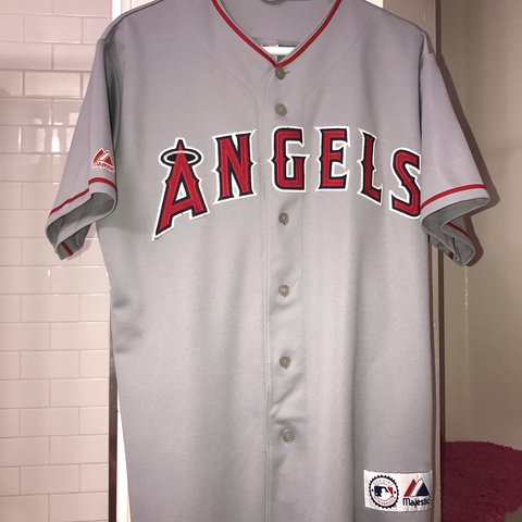 1bac479f7f8 Gray Anaheim Angels Baseball Jersey Used in good condition - Depop