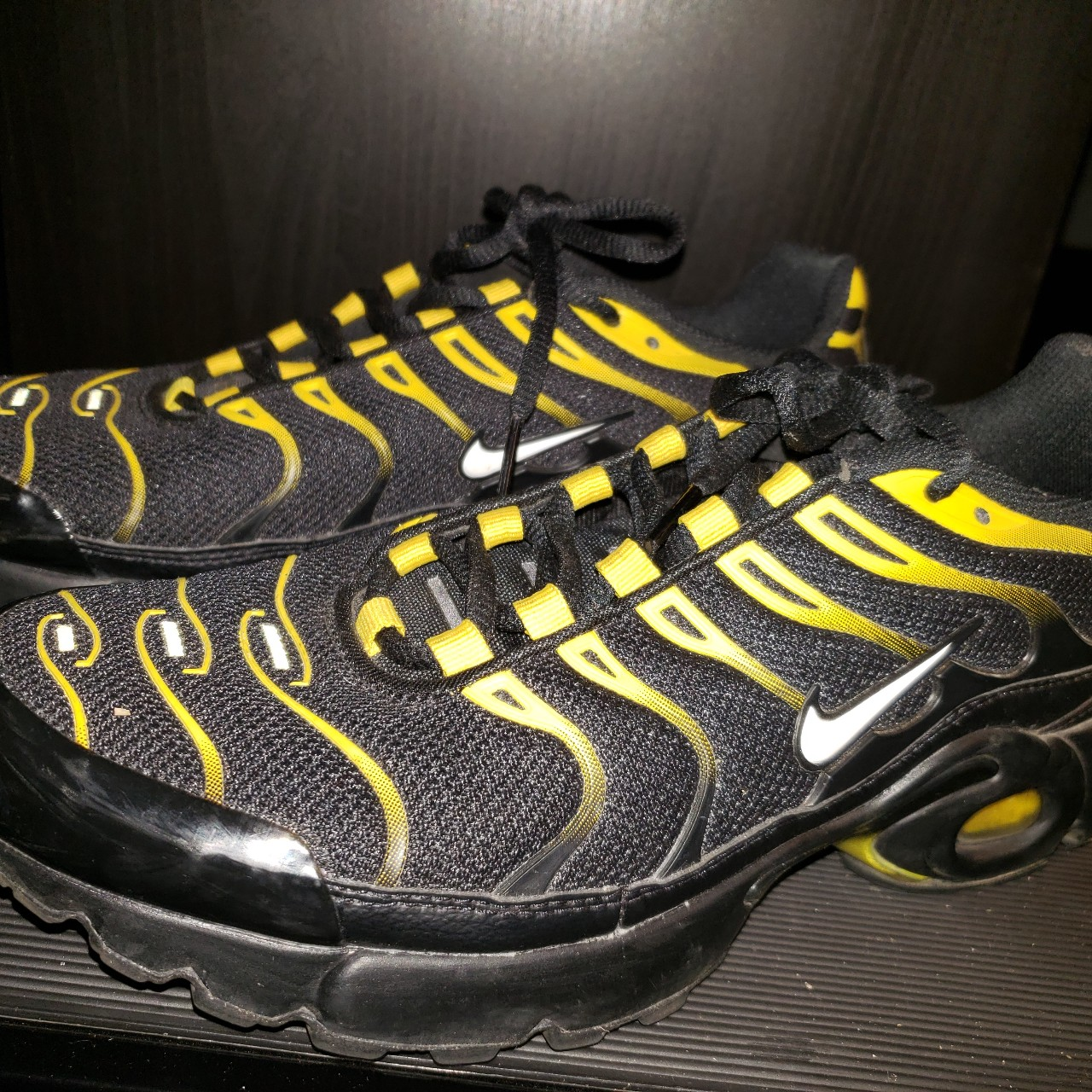 new arrival 28fae cb239 Nike vapormax plus Black and yellow Kids 7 mens 7... - Depop