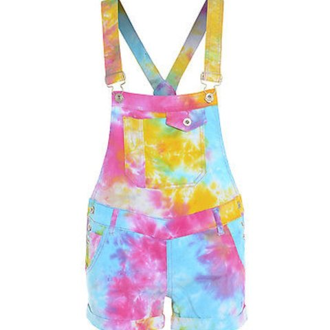 dee9d3f41d66f Tie dye dungaree shorts Size 10 Only worn once... - Depop