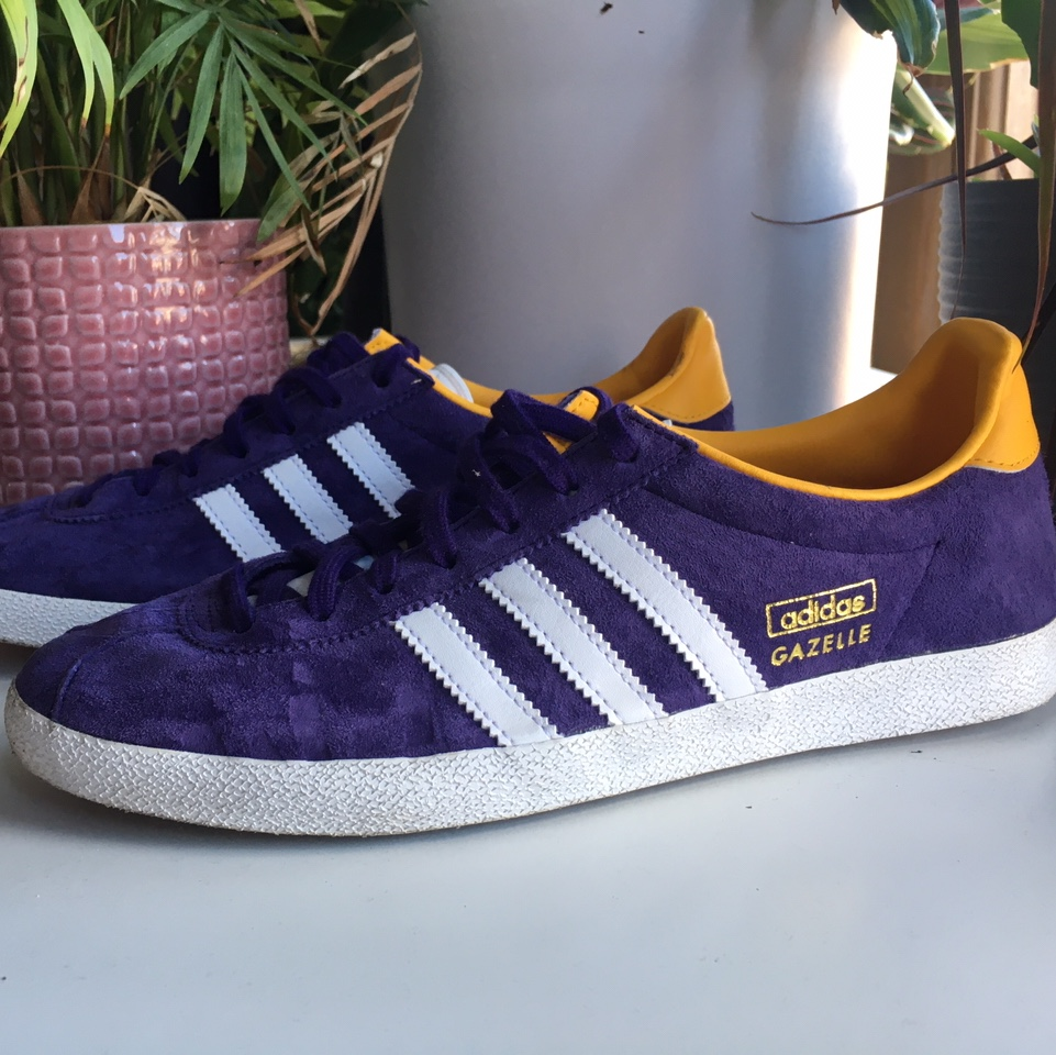 Adidas gazelles in purple and yellow. worn once,...