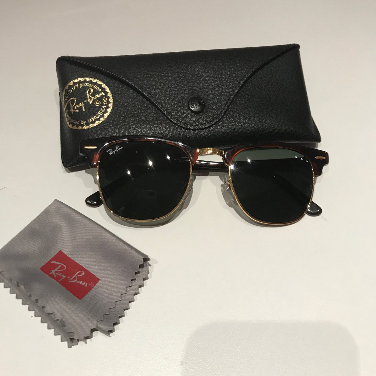 93ae94d3e67 Ray-Ban Clubmaster in size 49mm has a semi-rimless red frame - Depop
