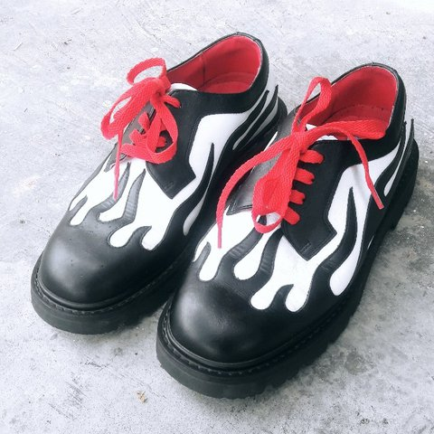 Black and white flame shoes with red accents. Cleaned and on - Depop 3640a698e