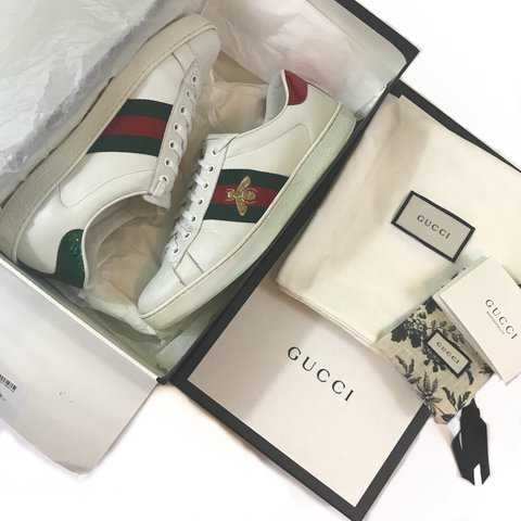 37cb92d8074 White Gucci ace bee shoes. Comes with og box and dust bags a - Depop