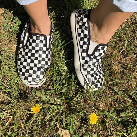 2b86817cd9d black and white checkered slip on vans 🏁 these thing a and - Depop