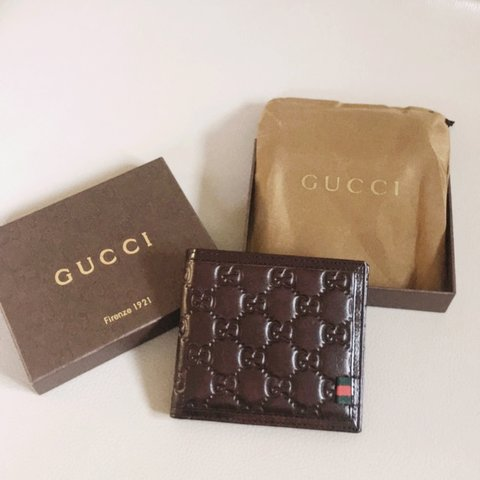 8ae9568a5d7 Brown Gucci leather wallet.Comes in the box and with dust me - Depop