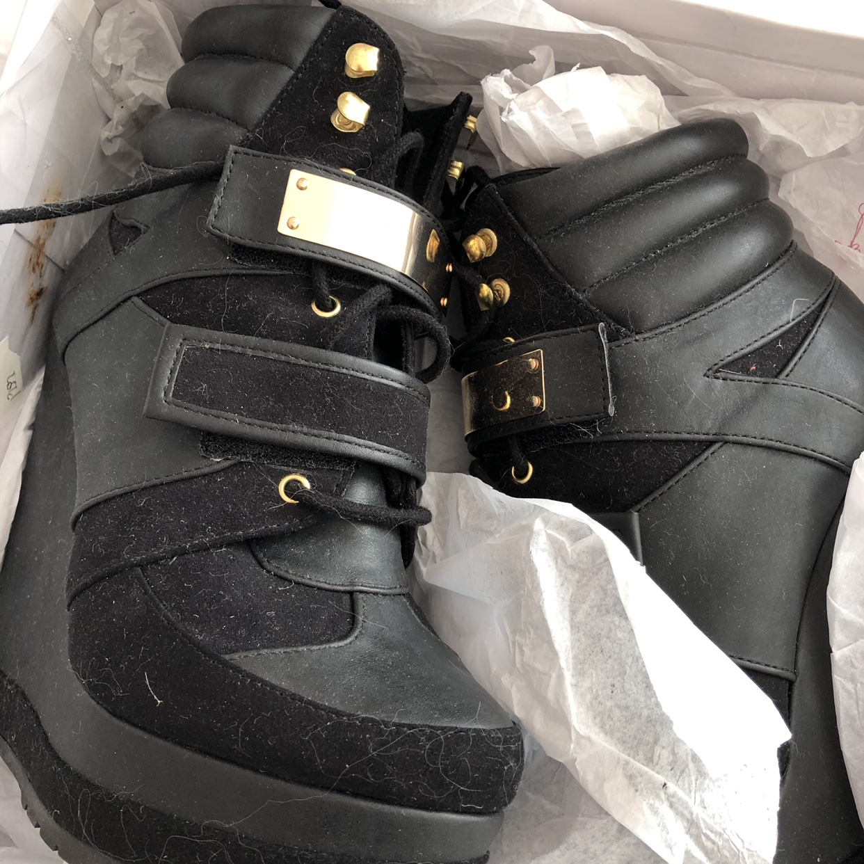 Wedge heel trainer boots by blonde on