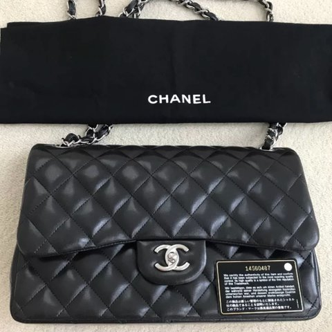 b1b7865c8190 @sloanite. last year. United Kingdom. REDUCED!!! Classic Chanel flap bag in  jumbo size black lambskin and silver hardware.
