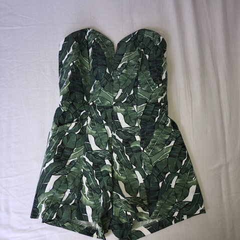 9c40cca7a61f H M tropical leaf print playsuit with zip up back