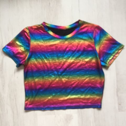 4f847233a BRAND NEW Stunning Holographic Rainbow Tee SEVERAL SIZES to - Depop