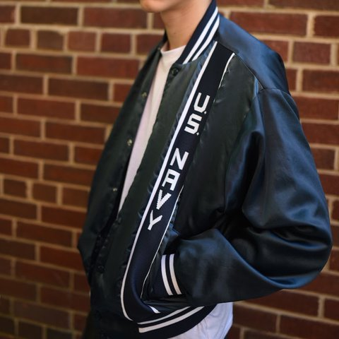 ff50db1c8d09 SATIN BOMBER JACKET  US NAVY (SIZE LARGE) -unisex! -models - Depop