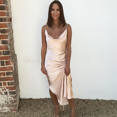 7f2706c2 @dannahy82. last month. London, United Kingdom. Zara Satin Draped Camisole  Dress In Nude Pink