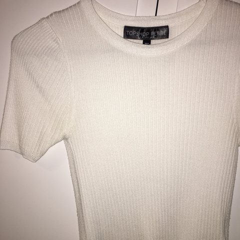 f522f3c9531 Topshop white ribbed short sleeve jumper top Size 8 petite