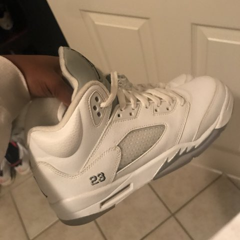 97b79c08db30 Silver metallic 5s. Size 7y. Retro 5. Jordan. 9 10 condition - Depop