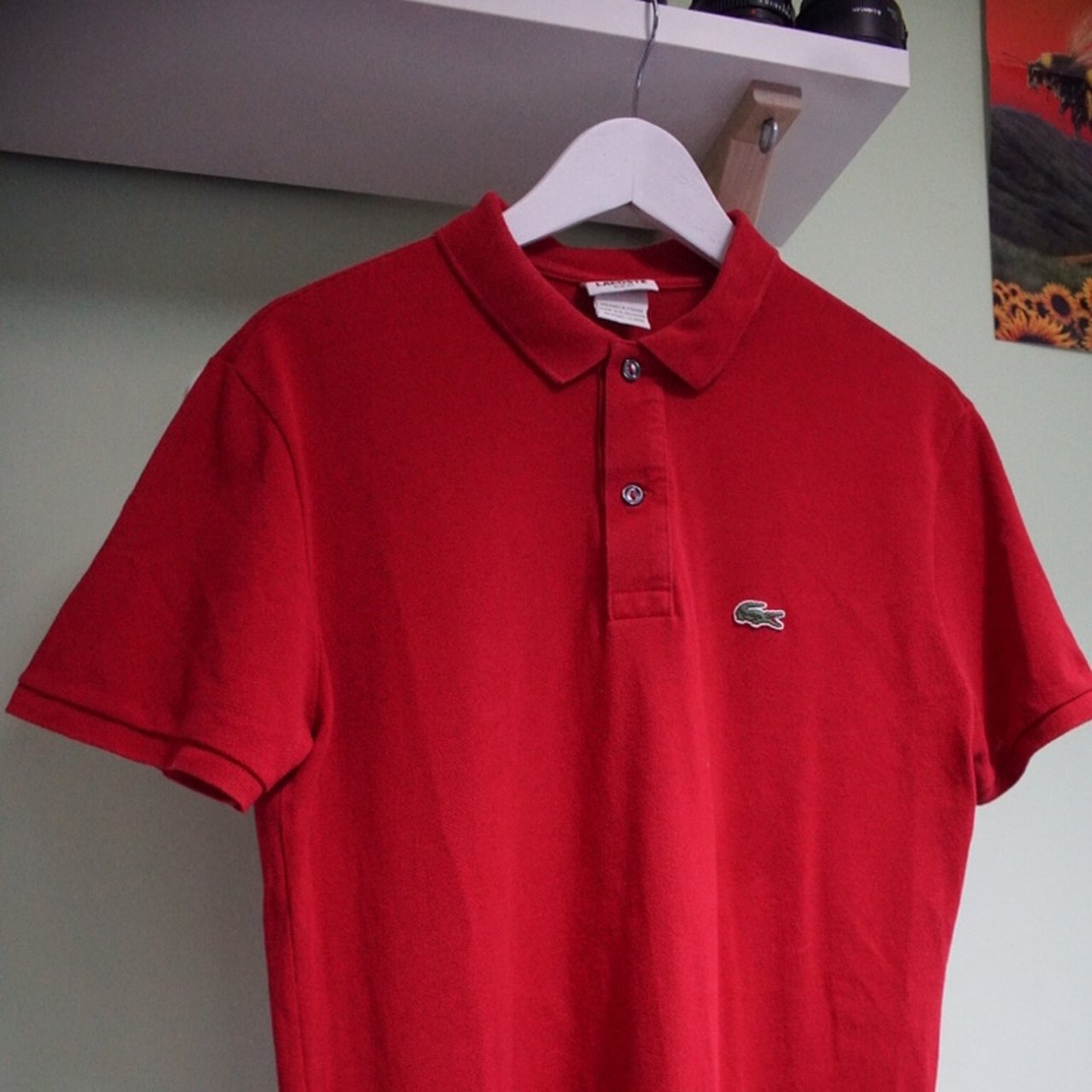 Lacoste Red Polo Shirt Size S 910 Condition Buy Off Depop