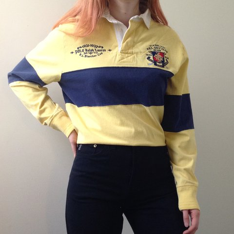 073a76b9ea0 @toadqueen. 11 months ago. Syracuse, NY, USA. Vintage 90s POLO Ralph Lauren  Rugby Shirt. 🏇 🏇 Yellow with navy blue stripe ...