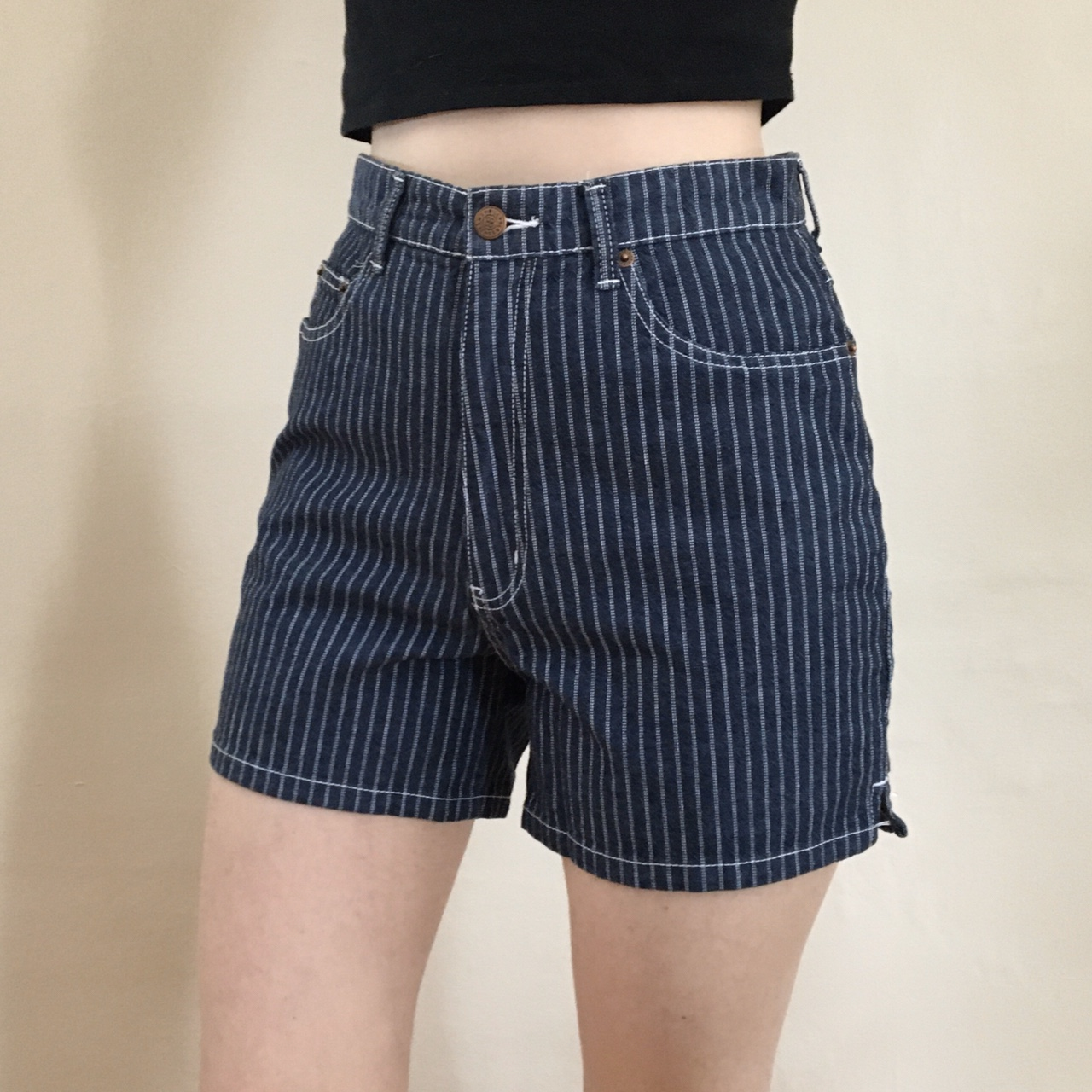 Vintage 80s High Waisted Striped Shorts
