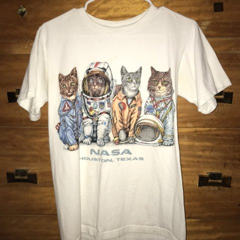 NASA Houston Space Astronaut Cats White    - Depop