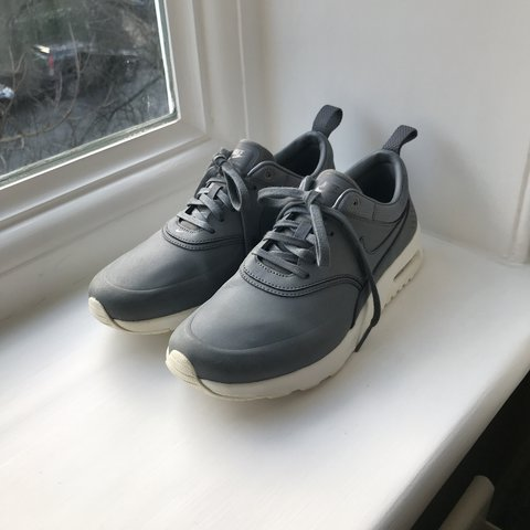 b9d2222664 @izzyingleby. last year. Reigate, United Kingdom. Woman's Nike Air Max Thea  premium leather grey trainers