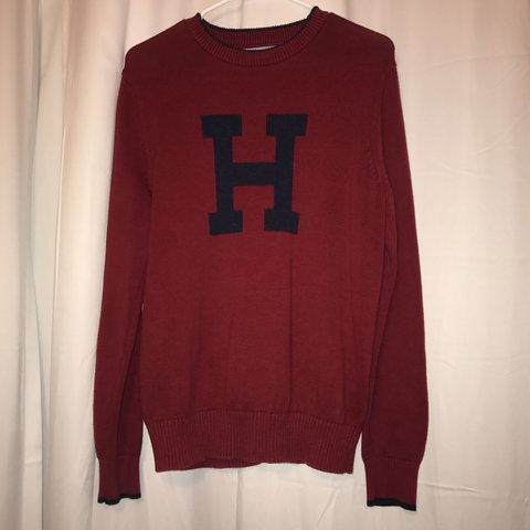 Tommy Hilfiger Sweater Red With Navy Blue Letter H Small Depop