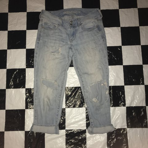 921e774904d @crisssizzle. last year. Anaheim, United States. Light wash super distressed  denim jeans . American eagle jeans are honestly the best ...