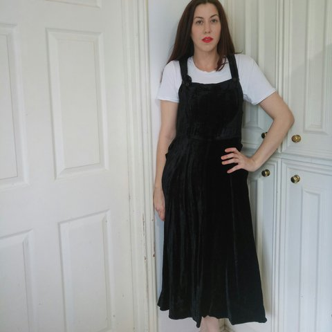 aa268771e28 Vintage 90 s Velvet Overall Dress-check out this gorgeous by - Depop