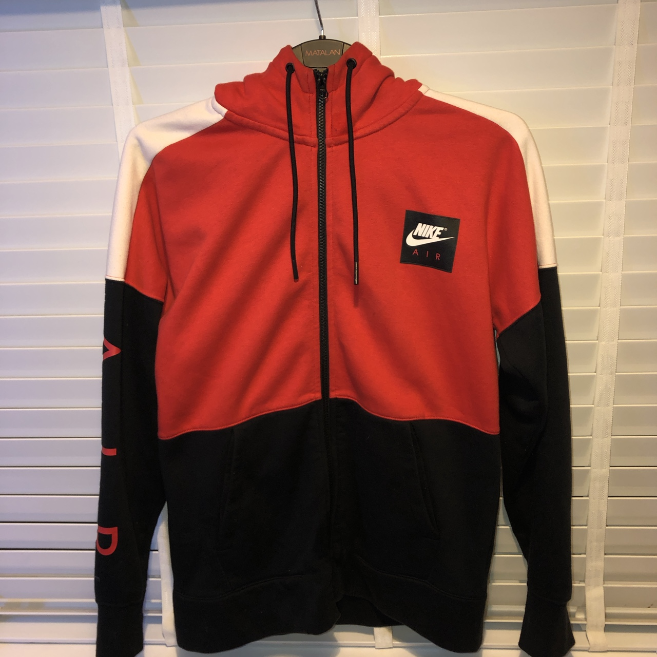 Nike air red, black and white zip up