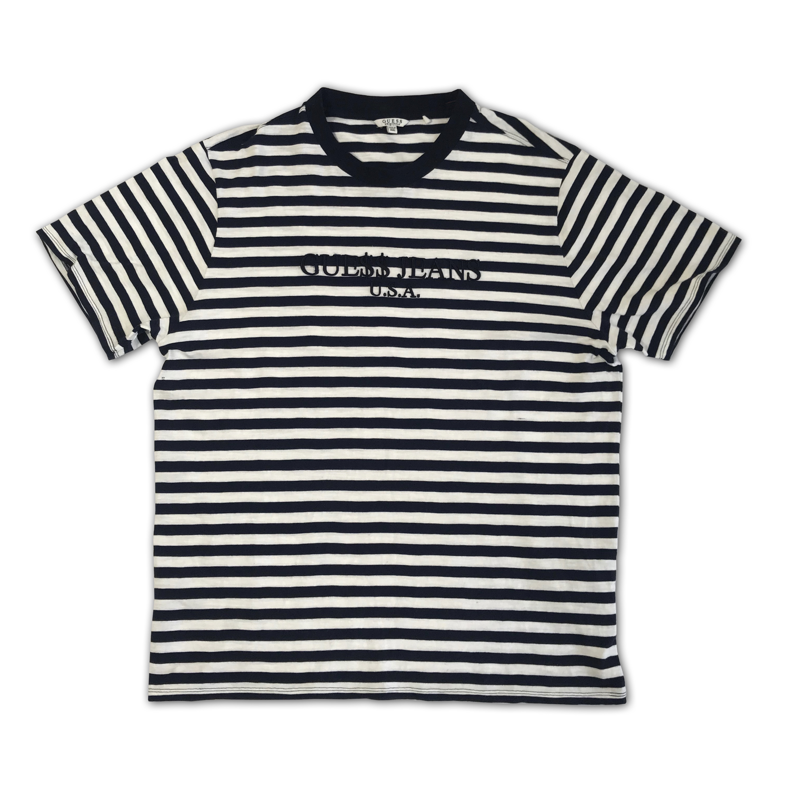 Guess X Asap Blue And White Stripe T Shirt