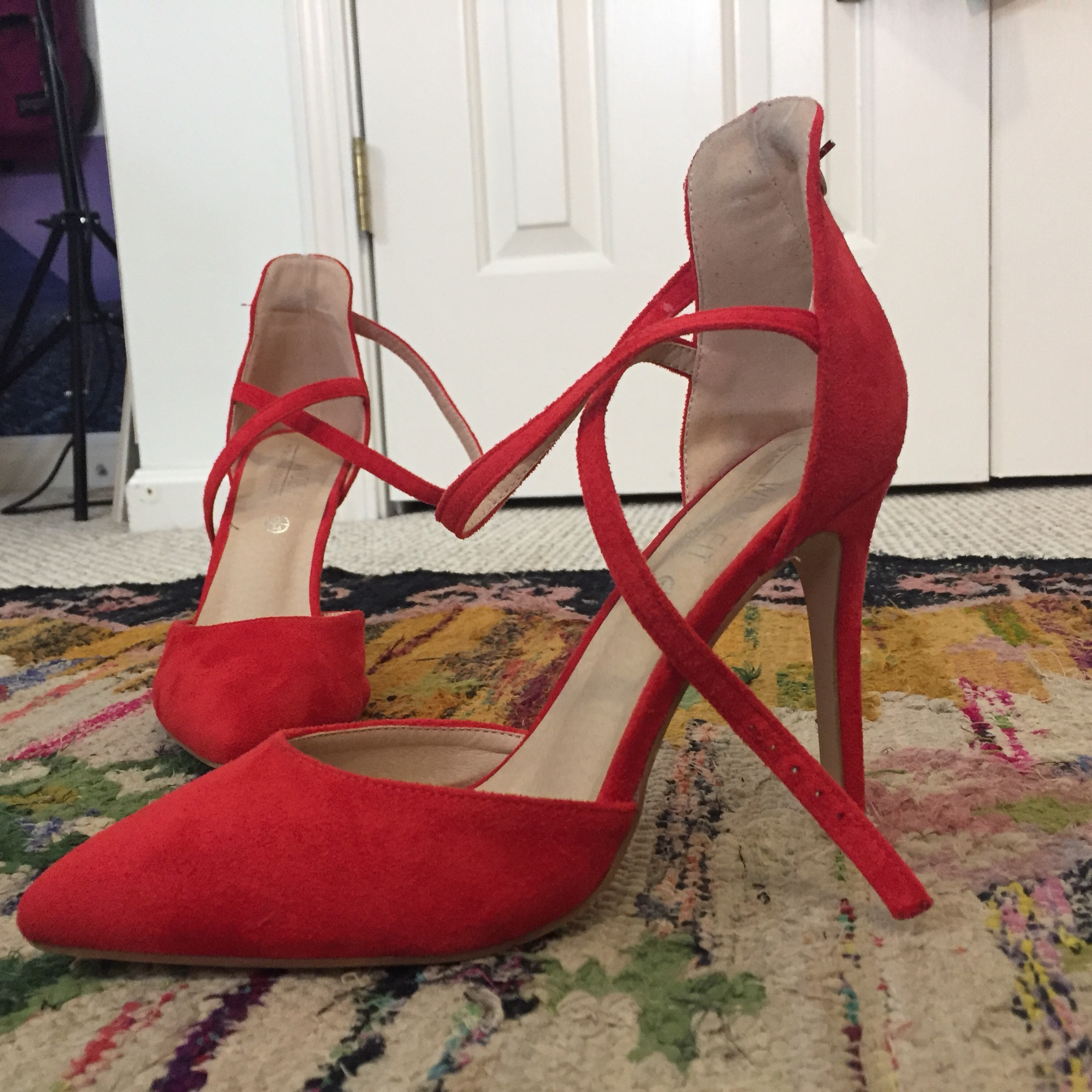 Red Pointed Stiletto Heels Wide Fit