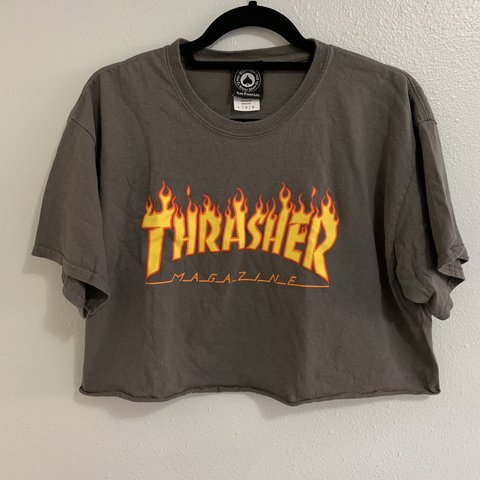 6cbee1f4b2ed Item  Dark Grey with Orange Logo THRASHER Magazine Flames L - Depop