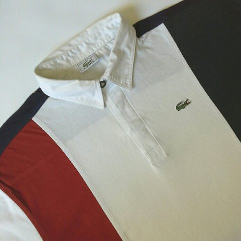 e390053e @kookitwobit. 2 years ago. Barry, United Kingdom. VINTAGE LACOSTE WIDE  STRIPE SHORT SLEEVE RUGBY JERSEY.