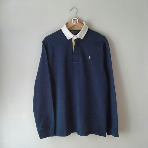 4add256341a @kookitwobit. 2 years ago. Barry, United Kingdom. VINTAGE RALPH LAUREN POLO  NAVY RUGBY JERSEY.