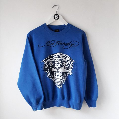 5742b43459ad2 Vintage Ed Hardy blue 🐯 sweater. Condition: Very good Size: - Depop