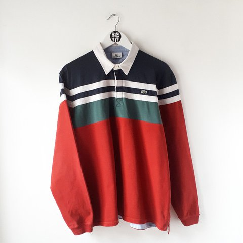 1a749393 @kookitwobit. last year. Wales, UK. Vintage Lacoste colourblock rugby jersey !!
