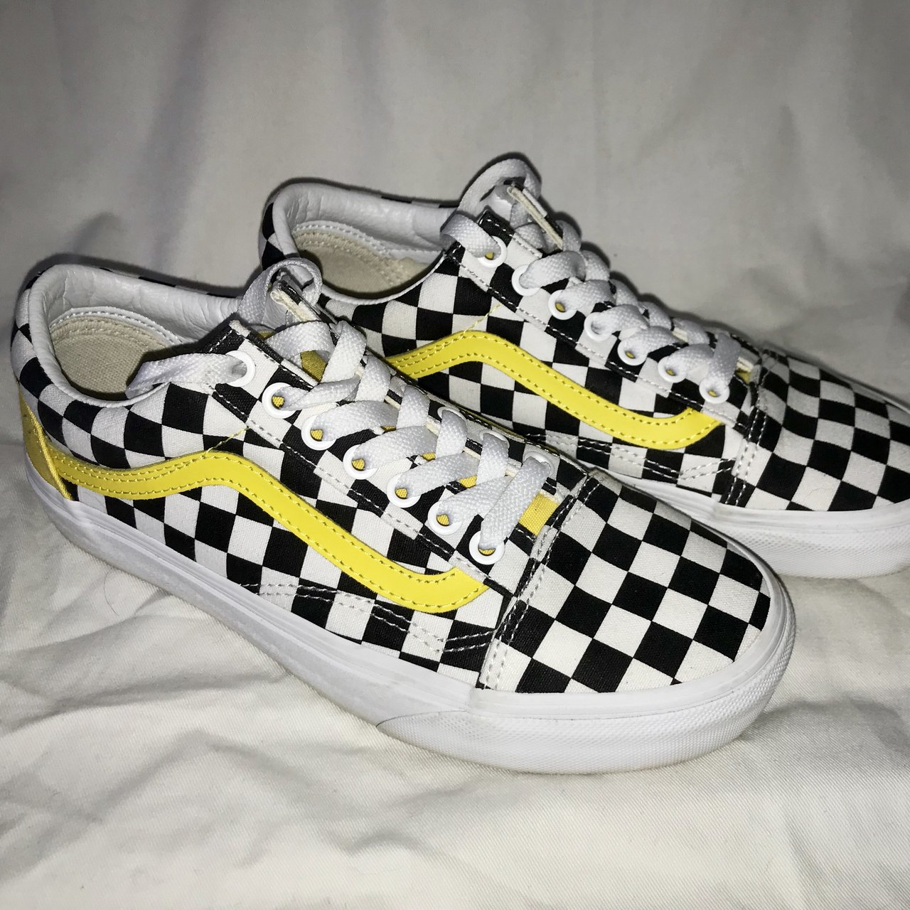 ⚠ 🏁 custom checkered old skool vans w yellow stripe ⚠ 🏁 - Depop eb7263ff7
