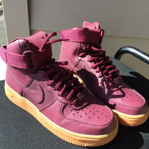 7f052511707a Burgundy maroon with gum some Nike Air Force Ones Women s a - Depop