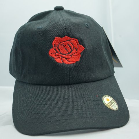 bc10c7b6d7 Unisex Black dad hat with red rose 🌹 Bronze buckle One - Depop