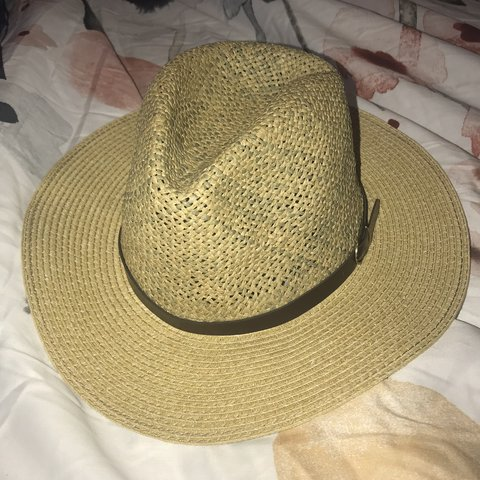 a3d3be0d5e4ba Charming Charlie Straw Fedora Hat with a brown band One - Depop