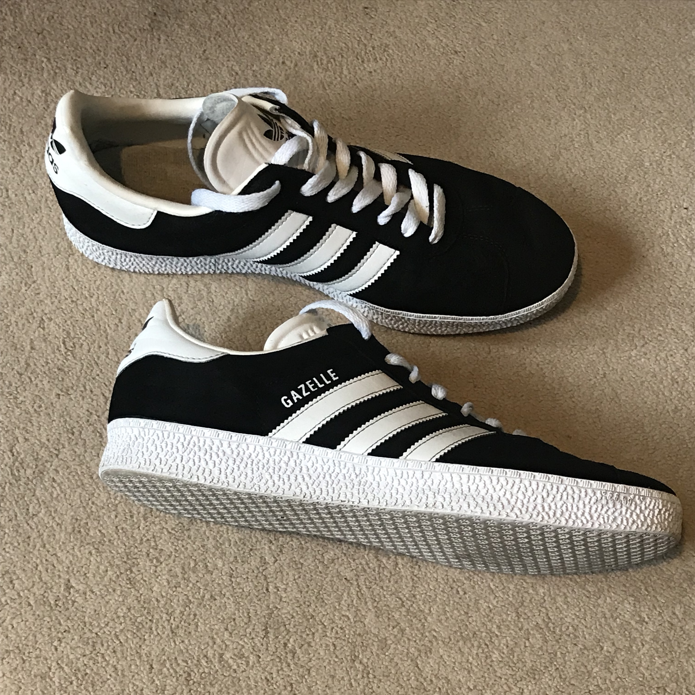 810 condition Adidas Gazelle. Black and White. Size Depop